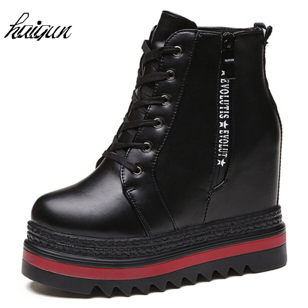 New 2017 autumn Wedges High Heels thick soled Ladies Casual  Shoes  winter Women platform shoes chaussure femme women harajuku cartoon lace up wedges platform shoes 2015 casual shoes trifle thick soled graffiti flat shoes ladies creepers