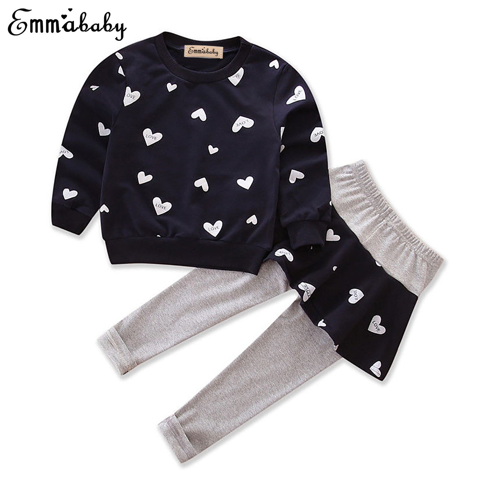 Emmababy Baby Girls Kids Long Sleeve Cotton Sweatshirt Jumper Tops+Long Pants 2pcs Set Outfits Tracksuit