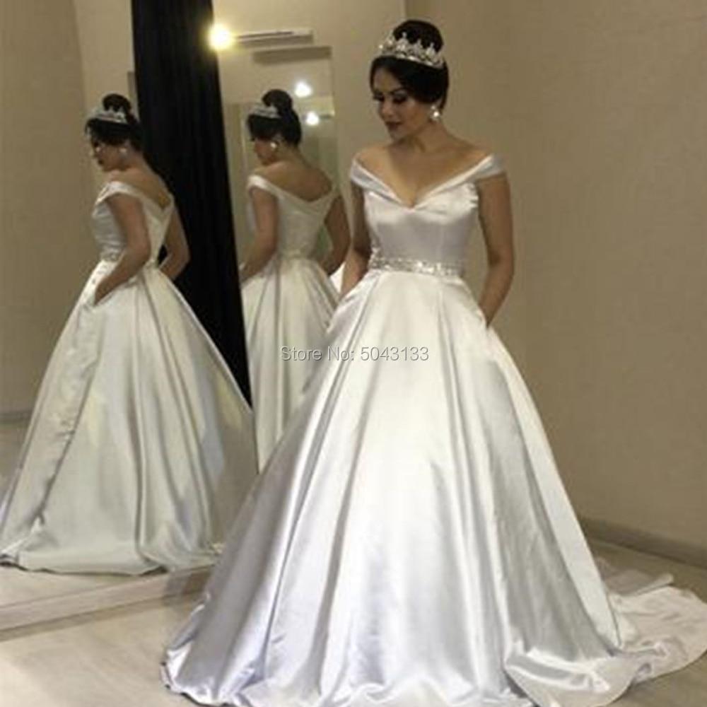 Elegant Satin Wedding Dresses With Beaded Sash 2019 Off The Shoulder Ball Gown Wedding Bride Dress Corset Vestidos