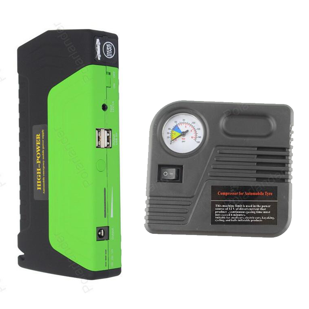 Car Jump Starter Vehicle AUTO Engine Booster Emergency Start Battery Portable Charger Power Bank with pump 2USB car jump starter auto engine emergency multi function jump starter power bank portable car battery charger laptop booster pack