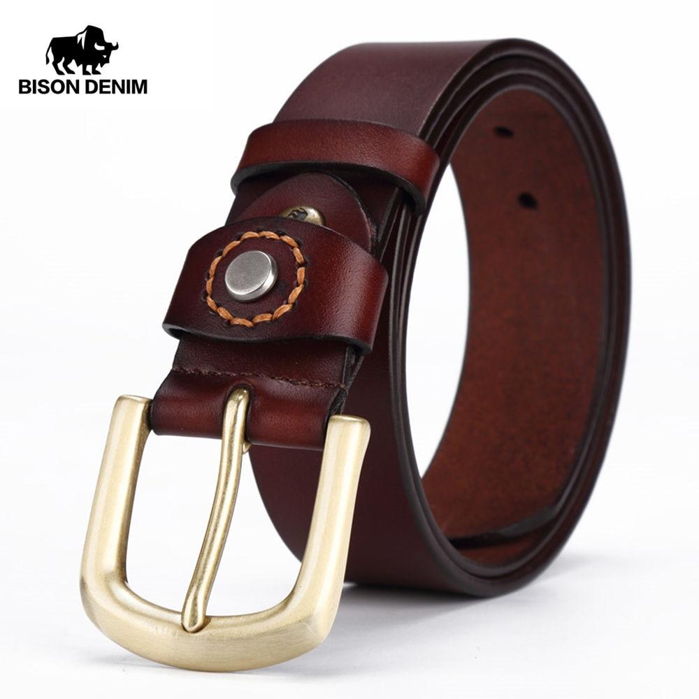 BISON DENIM Men belt Genuine Leather Men s Belts Pin Buckle Jeans Male Belts W71020