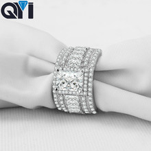 QYI 925 Sterling Silver 1.5Ct Rectangle Cut Luxury Rings Women Engagement Jewelry Sona Simulated Diamond Wedding Rings Gift