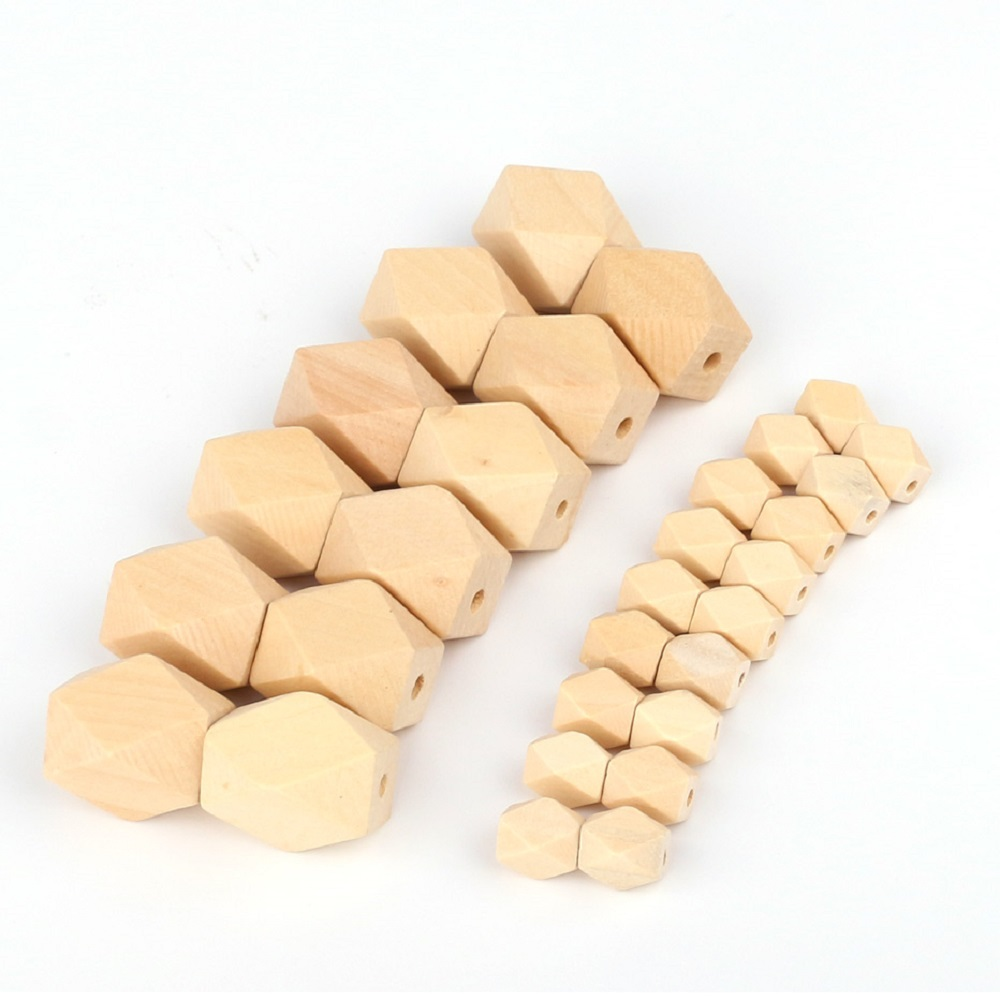 TYRY.HU 50Pcs Natural Long Hexagon Wooden Beads 13mm 27mm For Baby DIY Jewelry Making Baby Wood Teether Non-Toxic Can Be Chewed