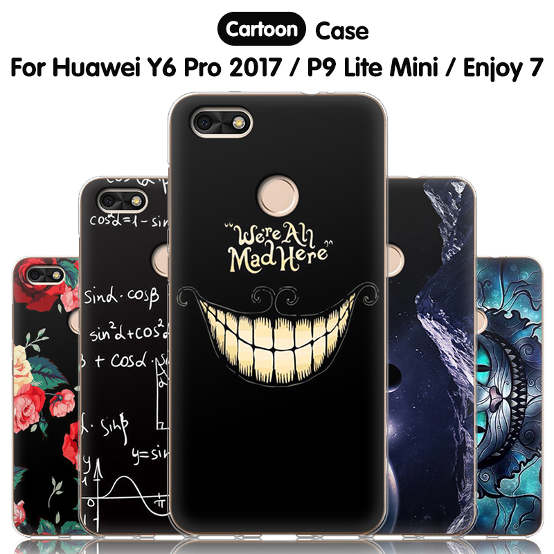 "JURCHEN Case For Huawei P9 Lite Mini / Y6 Pro 2017 / Enjoy 7 Case 5.0"" Cartoon Silicone Back Cover For Huawei P9 Lite Mini Case"