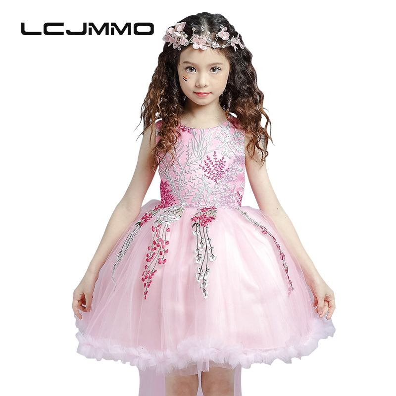 LCJMMO 2017 New Girls Dresses Party Princess Clothes Girl Birthday Bow Trailing Dress Kids Clothes Tutu Wedding Dress Girls 3-8Y lcjmmo new girls party dresses summer 2017 brand kids bow plaid dress princess costumes for girl children clothes 2 7 years