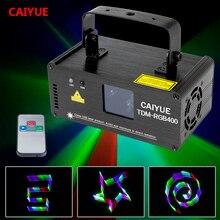 מרחוק 3D RGB 400mW DMX 512 לייזר סורק מקרן שלב אפקט תאורת חג המולד DJ דיסקו הצג אורות מלא צבע אור