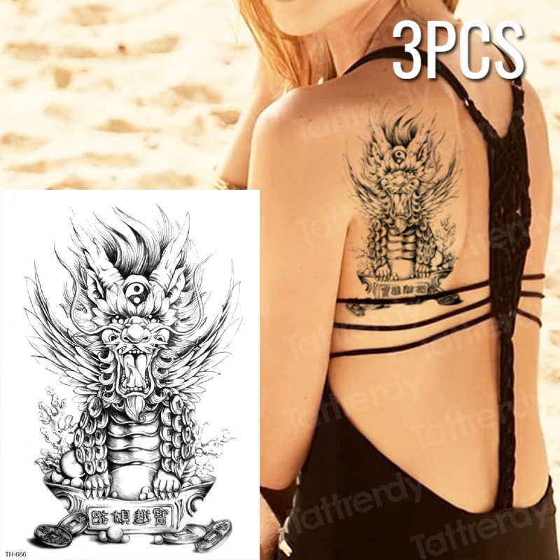 3pcs Lot Temporary Chinese Tattoos Dragon Black Sketches Tattoo Designs Summer Tattoo Sexy Back Thigh Leg Body Tatoo Stickers Aliexpress