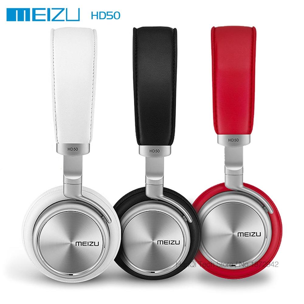 Original Meizu HD50 HIFI Stereo Bass Music Headset Aluminium Alloy Shell Low Distortion Headphone with Mic for iPhone Samsung LG