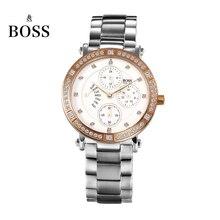 БОСС Германии часы женщины люксовый бренд алмазов из нержавеющей стали многофункциональные часы водонепроницаемые мода aurum relogio feminino
