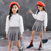 Girls Clothes Set 2019 Lace White Top + Plaid Skirt 2pcs Outfits Spring Boutique Kids Clothing 3 4 5 6 7 8 9 10 11 12 Years Suit(China)