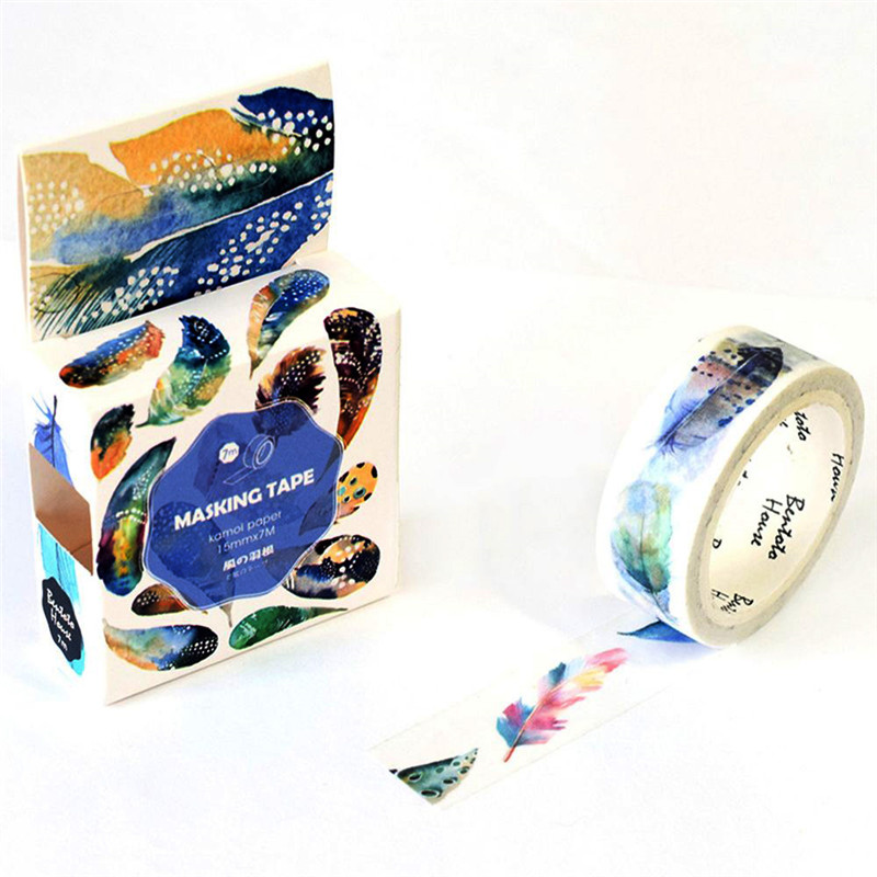 1 Pcs Washi Tapes DIY Beautiful Bird Feather Paper Masking Tape Decorative Adhesive Tapes Scrapbooking Stickers School Supplies
