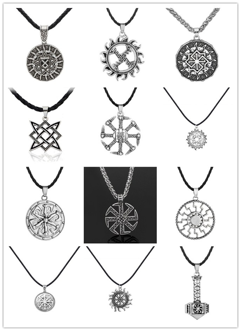 Slavic Kolovrat Wheel Amulet Pagan Pendant Necklace Viking Runes Star Of Russia Pentagram Nordic Wicca Charm Necklaces Collier