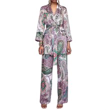 2019 Autumn Casual Women Suits 2 Pieces Sets Vintage Purple Paisley Printed Blazer And Elastic Waist Long Pants Trousers