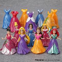 10CM 7pcs/lot PVC Princess Cinderella Elsa Anna Action Figure Set Doll Dress Can Change Classic Toys Kids Toys For Girl