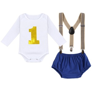Image 3 - Cake Smash Outfit Baby Newborn Birthday Party Clothes Baby Boy & Girl Clothes for Photography Cute Baby Suspenders Shorts Outfit