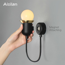 Aisilan Modern wall lamp AC85-260v Magnetic attraction Nordic creative light for bedroom study corridor