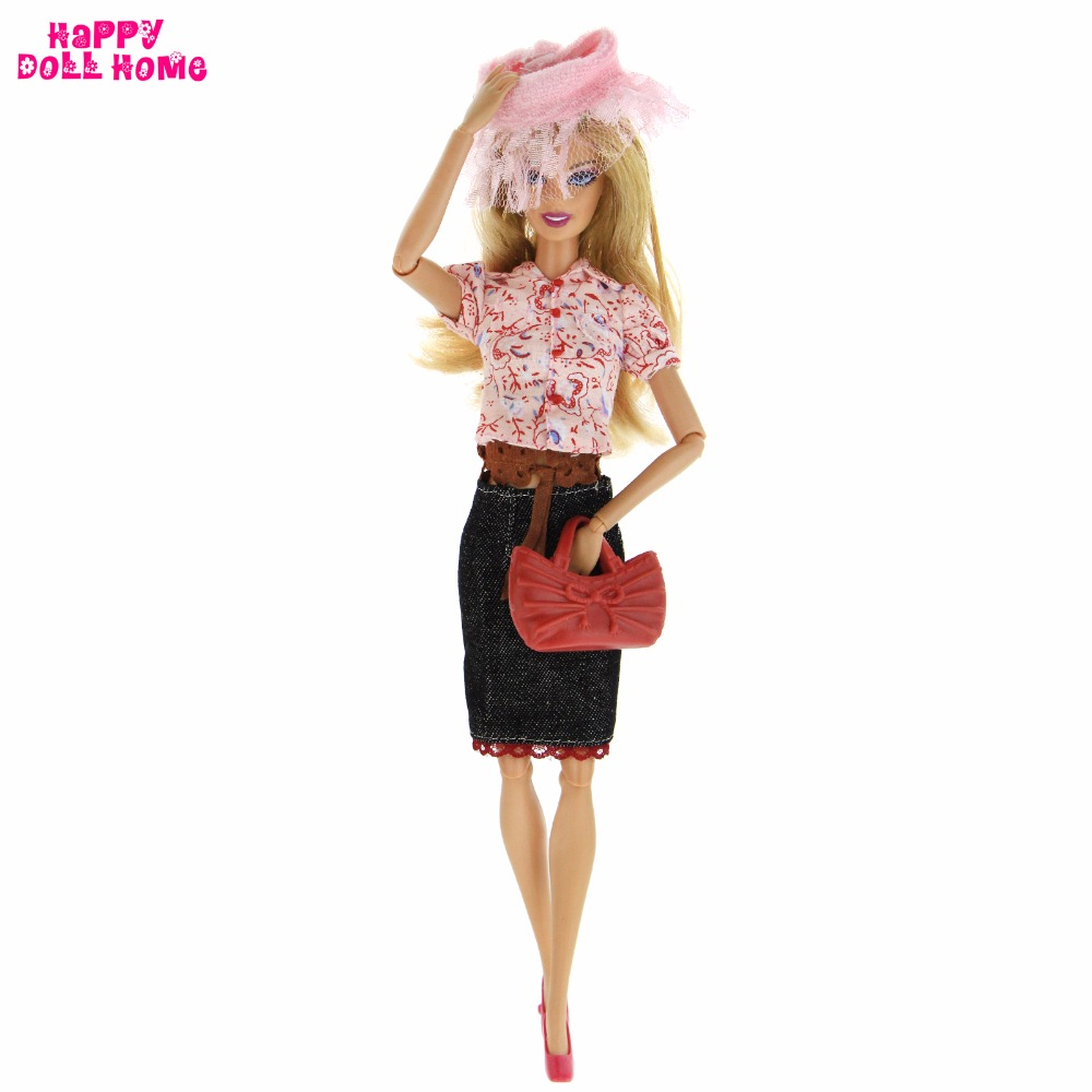 Fashion Outfit Dating Party Casual Wear Floral Blouse Denim Skirt Hat Belt Handbag Shoes Clothes For Barbie Doll Accessories Toy pink wool coat doll clothes with belt for 18 american girl doll