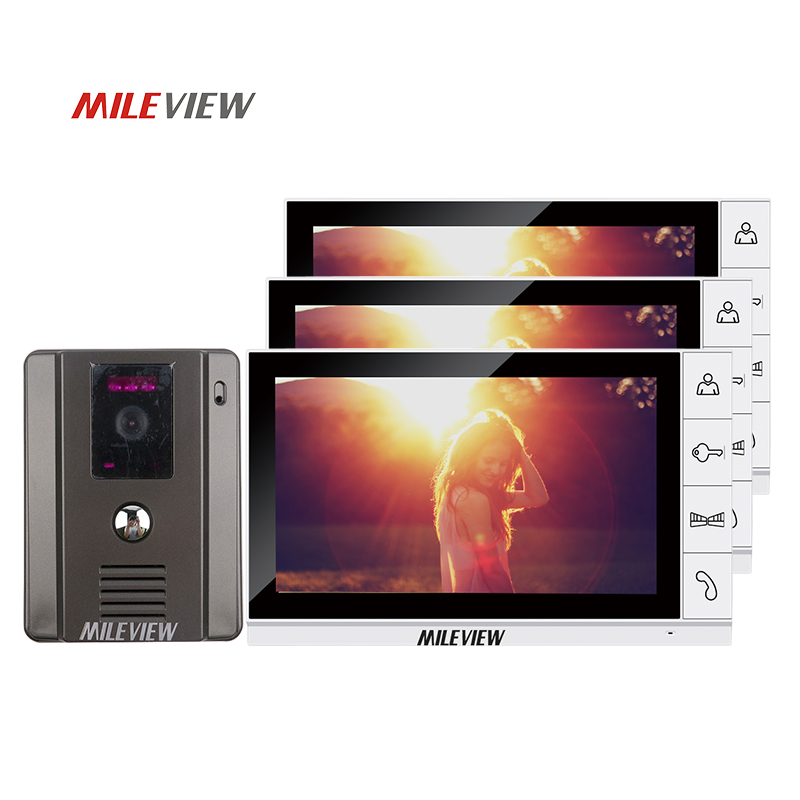 New Home Wired 9 TFT Video Door Phone Intercom Kit With 3 White Screens + 1 Night Vision Doorbell Camera In Stock Free Shipping free shipping wired new 9 inch tft lcd monitor video door phone intercom system with 1 night vision outdoor camera in stock