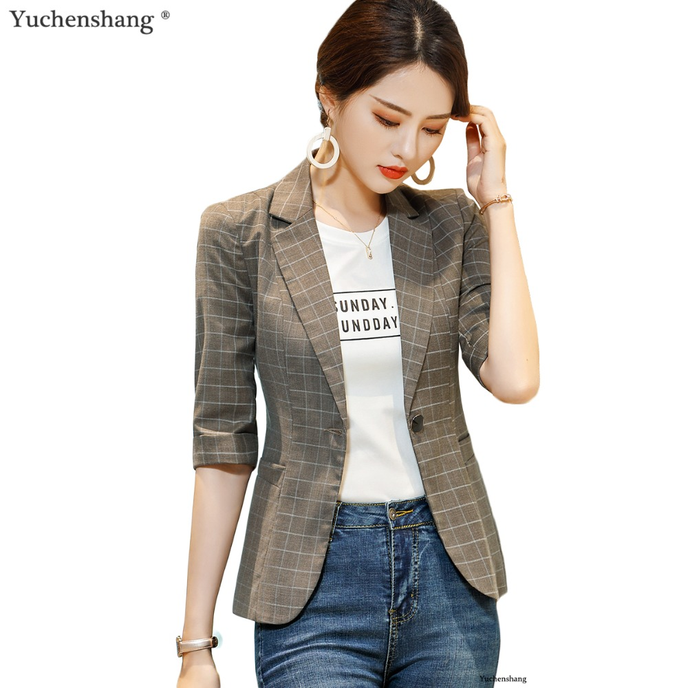 2018 slim plaid blazer women half sleeve casual jacket office ladies plus size 4xl work wear coat