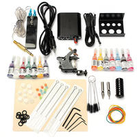 2018 New 1 Set 90 264V Complete Equipment Tattoo Machine Gun 14 Color Inks Power Supply Cord Kit Body Beauty Tools