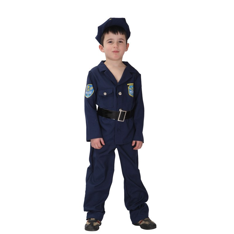 Boys Police Costume Cosplay Career Halloween Party Role Play Boys Cool Police Suit For Kids Costumes