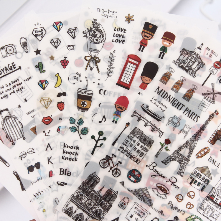 6Sheets/Pack Vintage London Paris European Style Travel Diary Paper Sticker Decoration DIY Diary Scrapbooking Label Stickers