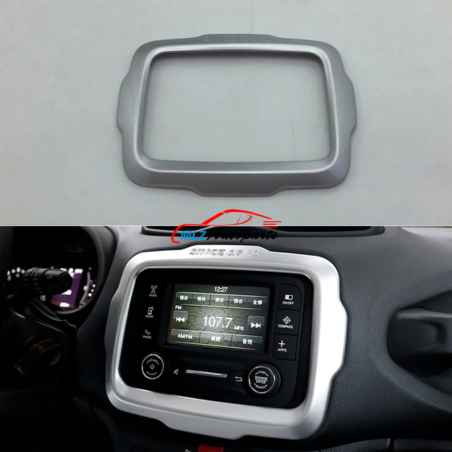 Interior Console Center Dashboard Navi Navigation Panel Cover Trim Frame  Garnish Sticker For Jeep Renegade 2015