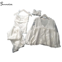 Smmoloa Double Layers Long Sleeve Lace Pajama Summer Women Sleep Lounge Sexy Pajama Set