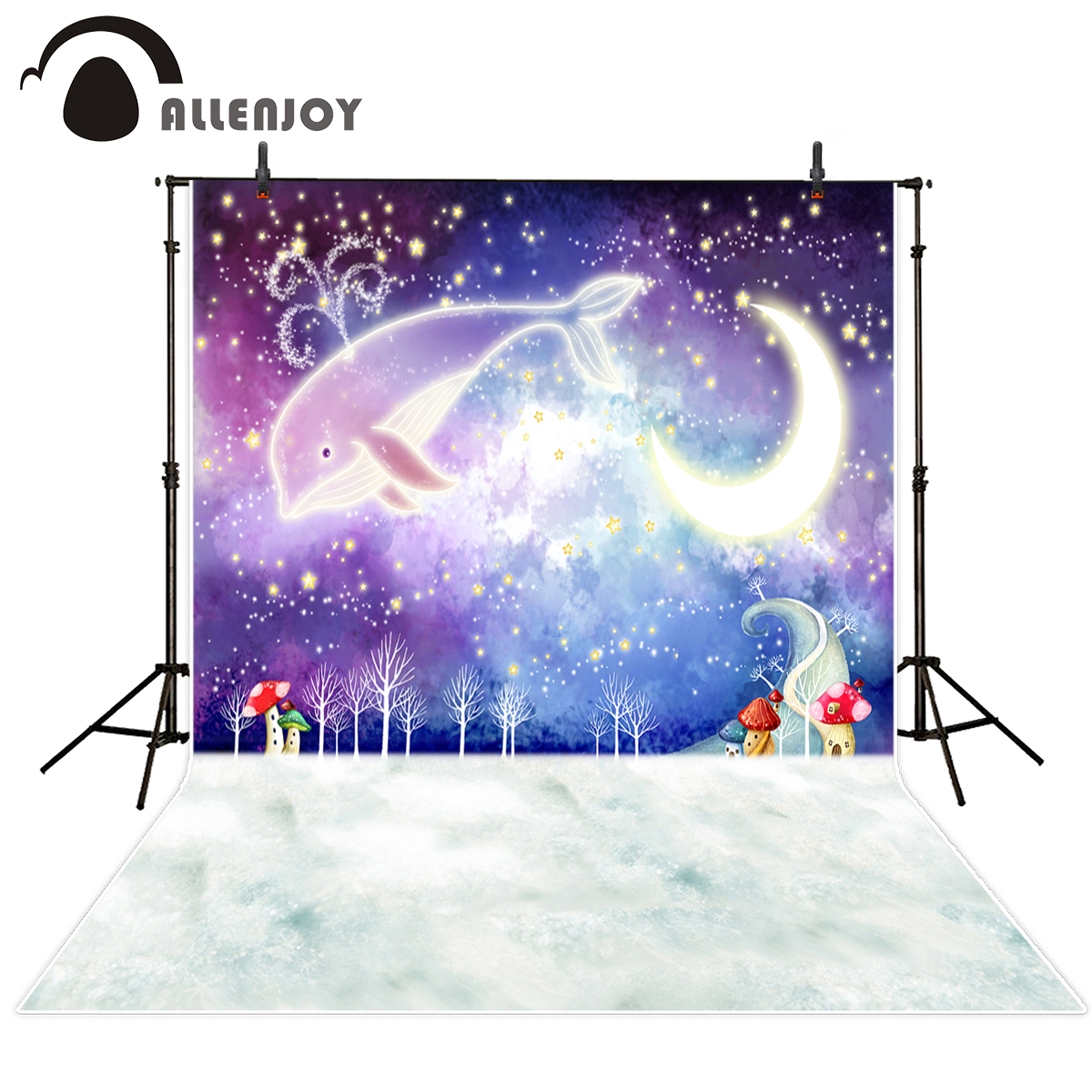 Allenjoy Background for font b photo b font sessions Night Starry sky Whale moon for Birthday