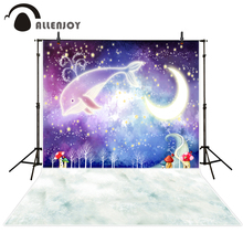 Allenjoy Background for photo sessions Night Starry sky Whale moon for Birthday Celebration Indoor photographic camera backdrop
