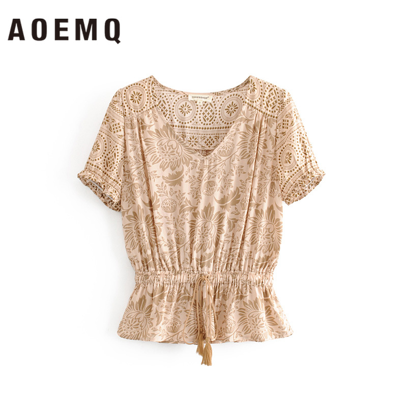 AOEMQ Women Blouse Elastic Waist Sun Flower Summer Lotus Floral Print Shirts Vintage Blouse&Shirts Women Tops for Female(China)