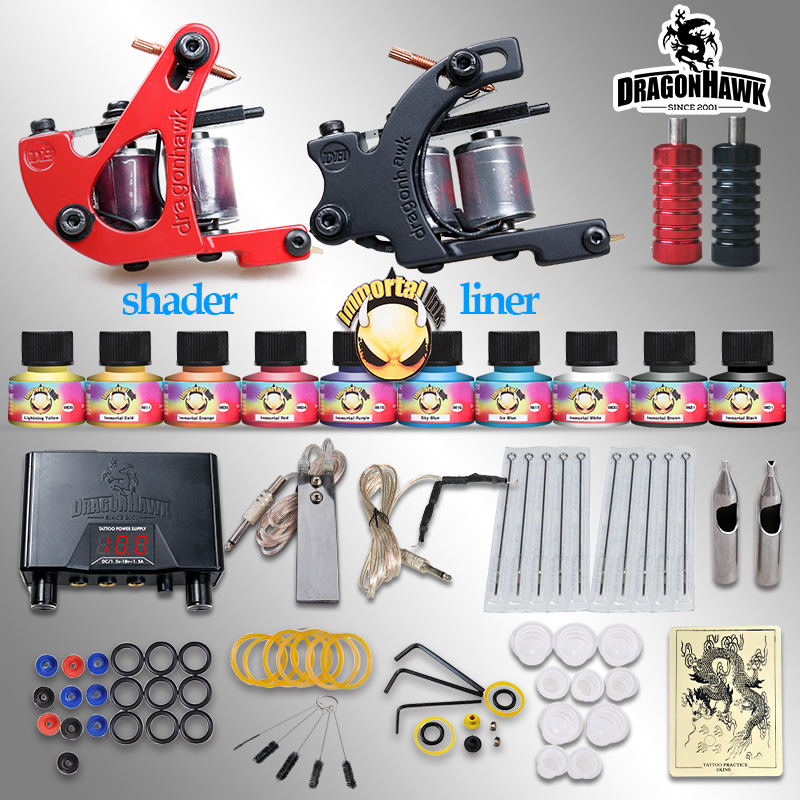 Beginner tattoo starter kits 2 guns machines 10 ink sets power supply disposable needle pedal tips D1015NS Top U.S.A Tattoo Ink professional tattoo kits liner and shader machines immortal ink needles sets power supply