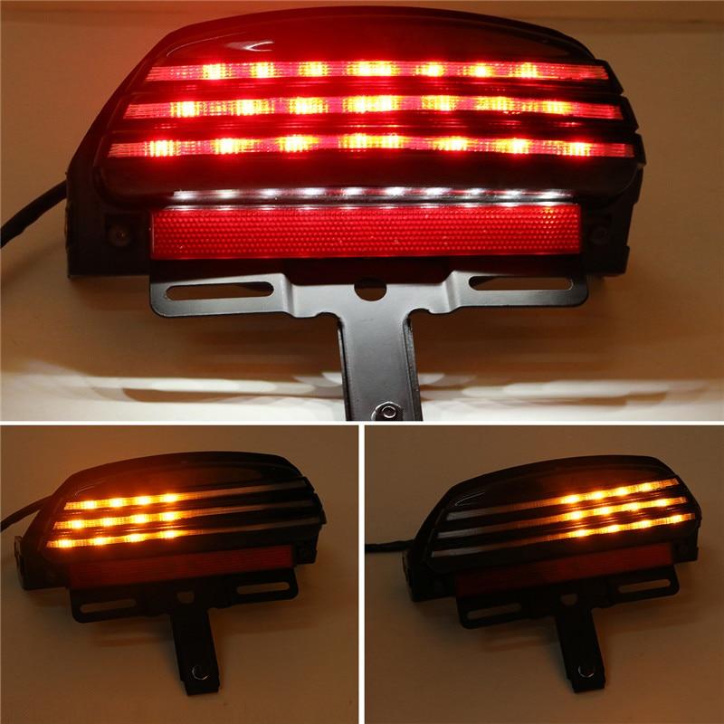 ФОТО C-5 Tri-Bar LED Fender Turn Signal Tail Light License Plate Bracket For Harley Softail FXST FXSTB FXSTC c-5 C/5