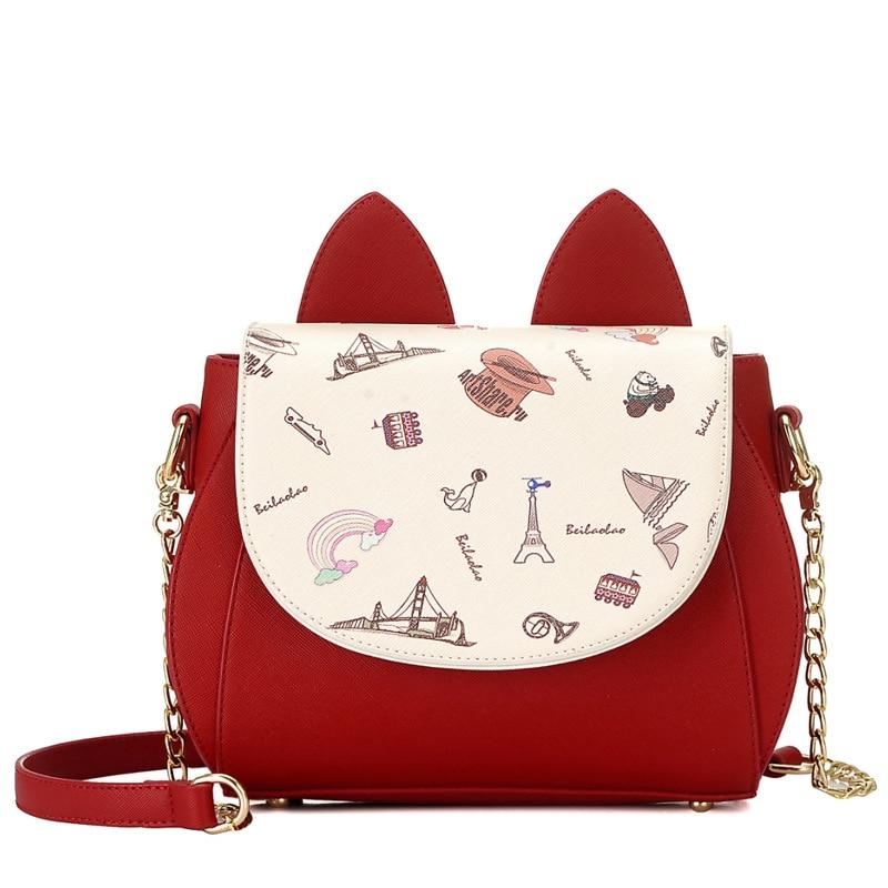 Fashion Printed Women Leather Messenger Bag Cat Ears Decorated Small Shoulder Bag Ladies Crossbody Handbags High