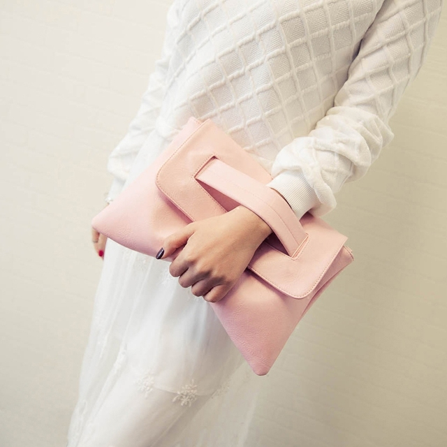 Summer Style Pink Bag Women Messenger Bags Candy Color Leather Handbags With Short Handles Day Clutches Bolsa Feminina Wristlets