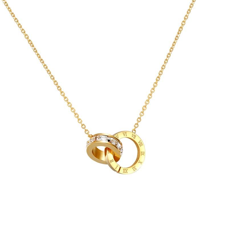 Купить ожерелье женское с двойной пряжкой колье кристаллами и римскими