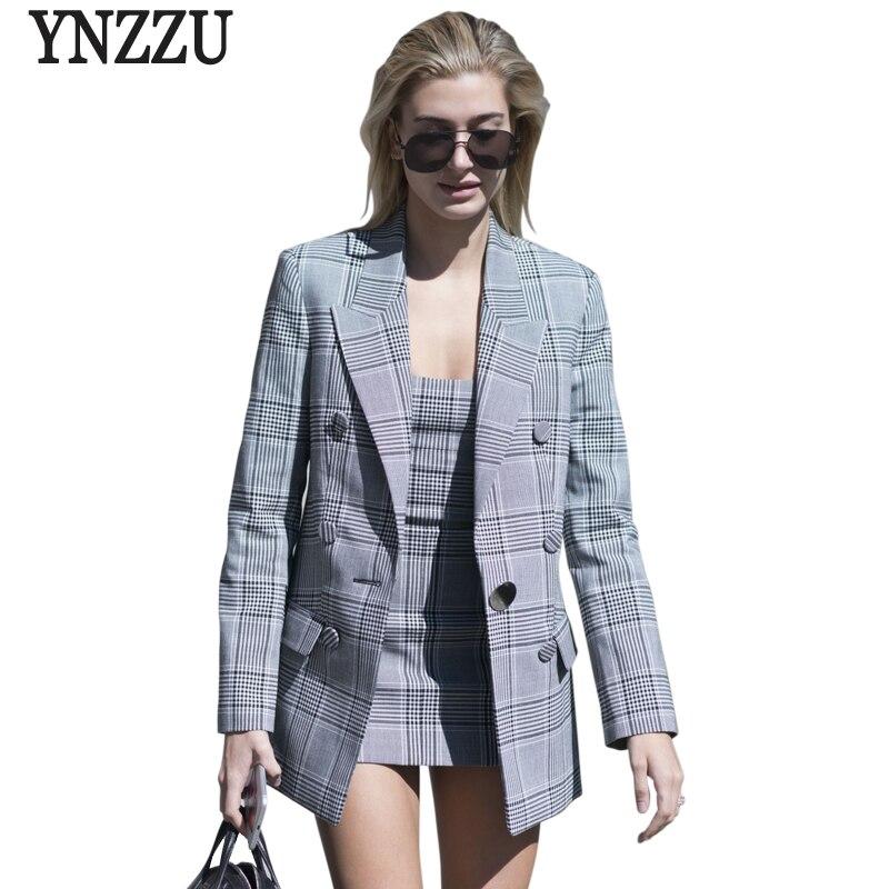 YNZZU 2018 New Spring Women Blazer Chic Plaid Long Sleeve Turn Down Collar Office Lady Blazer Female Jacket High Quality O491
