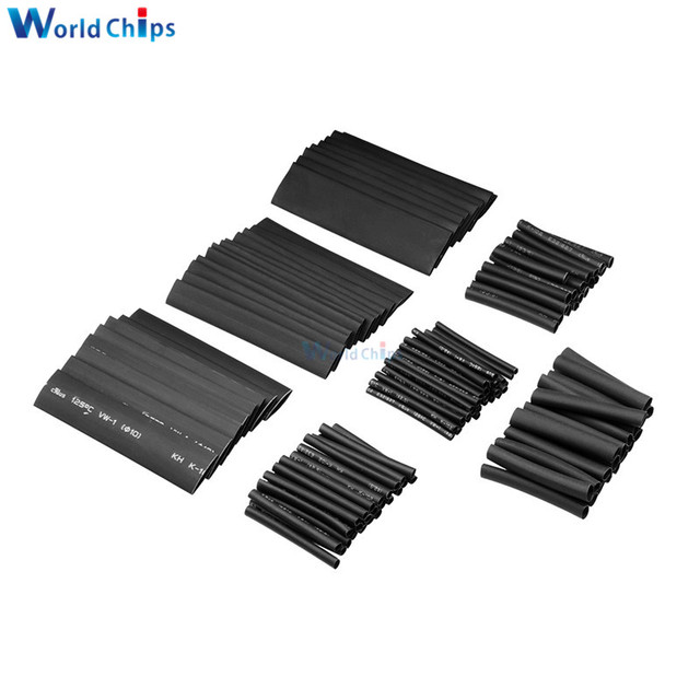 127/140/328/530Pcs Assorted Polyolefin Heat Shrink Tubing Tube Cable Sleeves Wrap Wire Set 8 Size Multicolor/Black 5