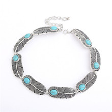 Boho Leaf shape Necklace 2016 Fashion Bohemia Silver Choker Blue turquoise Necklace For Women Neck Jewelry Party Accessories stylish faux turquoise carving leaf tassel necklace for women