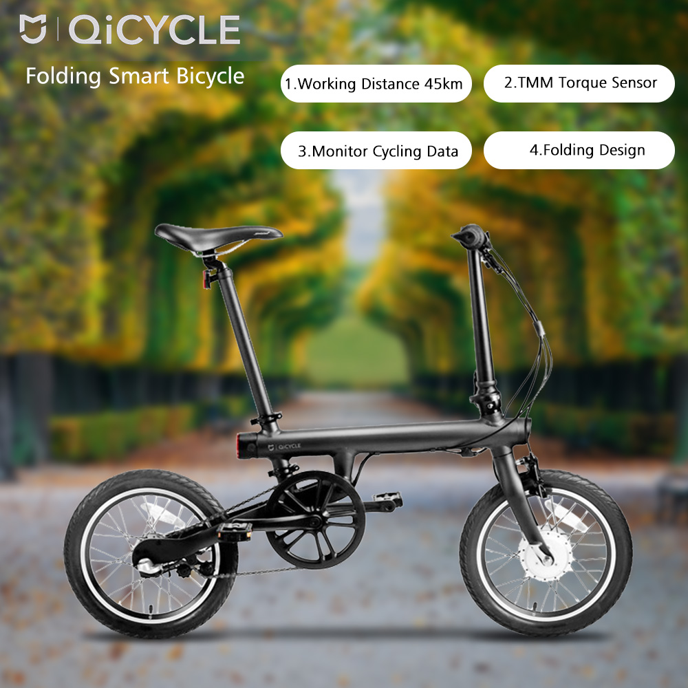 Original Xiaomi QiCYCLE - EF1 Folding Electric Bike Bluetooth 4.0 Smart Electric Bicycle 16inch Bicycle Support APP awei g20bls neckband wireless earphone sport bluetooth headphone dual battery with mic headset earpiece auriculares for phone