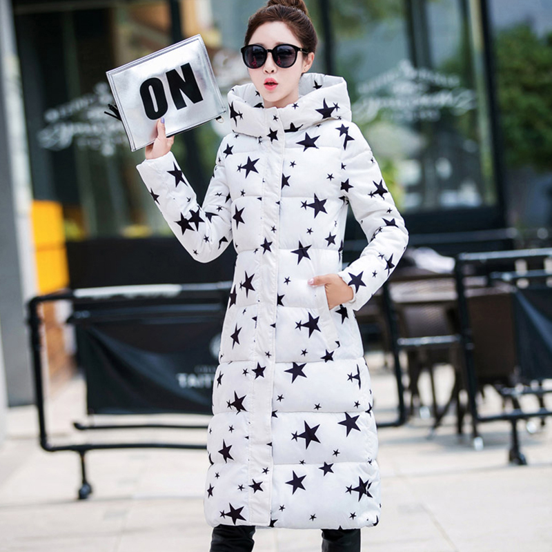 Stand Collar Hooded Winter Jacket Women Long Outwear Cotton Padded Womens Jackets Printing Black White Female Long   Parka   2019