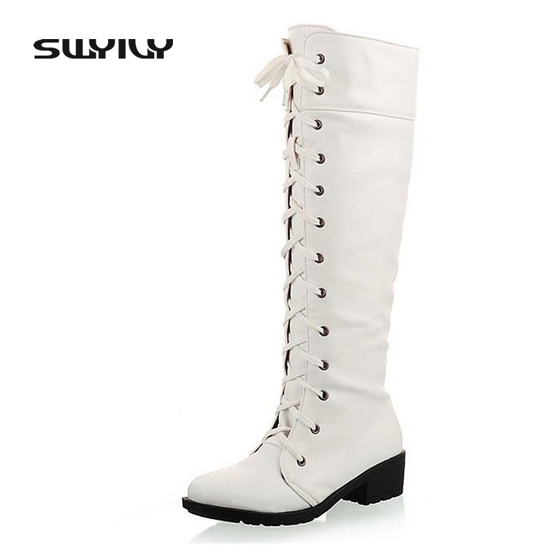 2017 Women Autumn Boots White Lace Up Boots Women's Boots Autumn Winter New Fashion Ladies Sexy Knee High Long Boots High-Leg bfdadi 2018 new autumn winter high