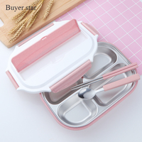 304 Stainless Steel Japanese Lunch Boxes With Compartments Microwave Bento Box For Kids School Picnic Food