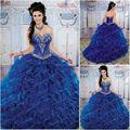 2017 de alta qualidade azul royal quinceanera vestidos vestidos de baile sweetheart frisada sweet 16 15 anos vestido de vestidos de 15 anos