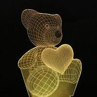 Top Quality Children Gifts USB Little Lovely Heart Bear 3D Atmosphere Lamp Girls Baby Bedroom LED