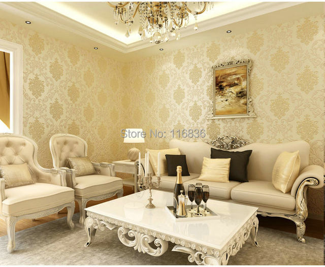 Online Shop Luxury Blue Gold Yellow Damask Wall Paper Vintage ...