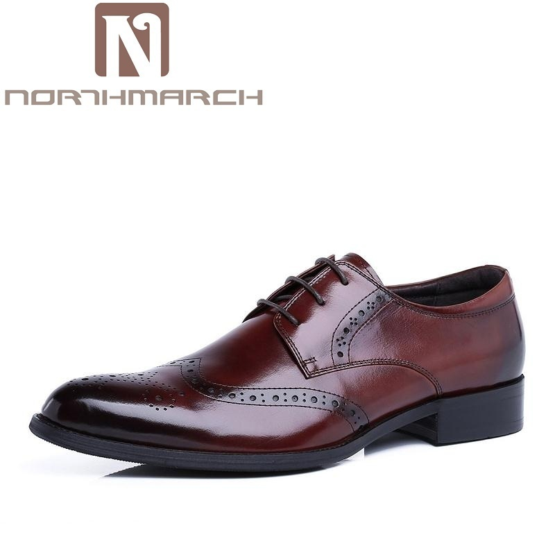 NORTHMARCH Genuine Leather Luxury Men Shoes British Fashion Vintage Oxford Classic Male Elegant Office Business Dress Suit Shoes men s dress shoes crocodile pattern british work shoes men s business shoes elegant fashion shoes with suit