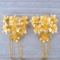 1 Pair Pure Golden Hair Combs Hairclips With Tassel Chinese Style Wedding Costume Bride Hair Accessory