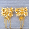 1 pair Pure Golden Hair Combs Hairclips with Tassel Chinese Style Wedding Costume Bride Hair Accessory Classical Bridal Jewelry