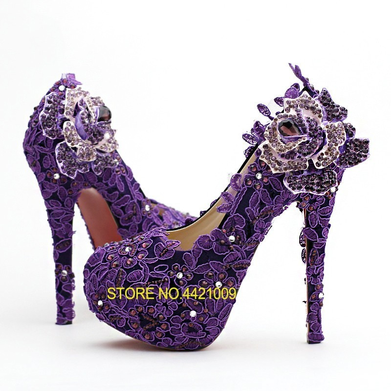 Women's Pumps Female Shoes Lady Round Toe Purple Crystal Flower Diamond Bride High Heels For Wedding Party Stage Performance